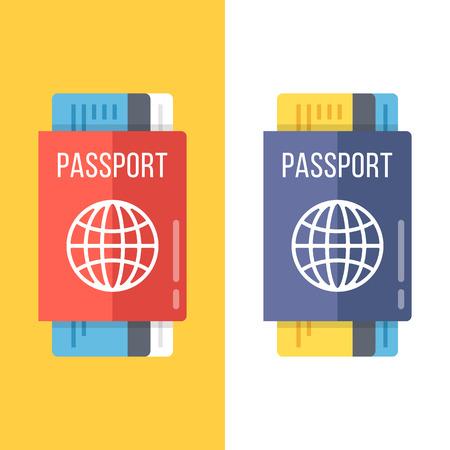 pass on: Passports set flat illustration