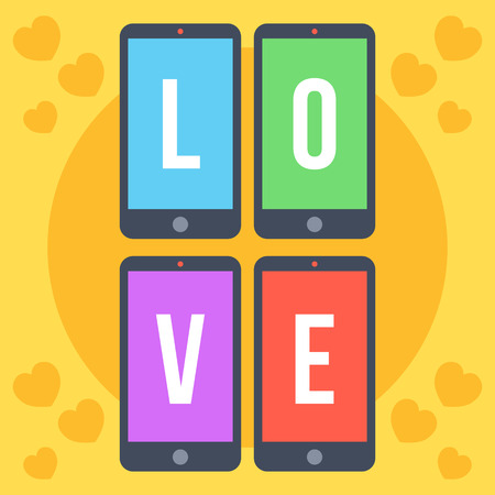 smart phone: Smartphones with colorful screens and letters love flat illustration