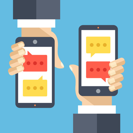 hand holding smart phone: Texting flat illustration concept. Sms, instant messaging app, texting service Illustration