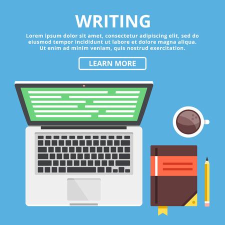 escribiendo: Ejemplo del concepto de escritura plana. Espacio de trabajo con el equipo del escritor