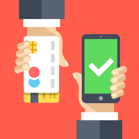 cellphone in hand: Mobile payment flat illustration concept. Transaction accepted Illustration