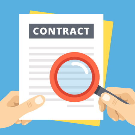 web icons: Contract review flat illustration. Hand with magnifier over contract page