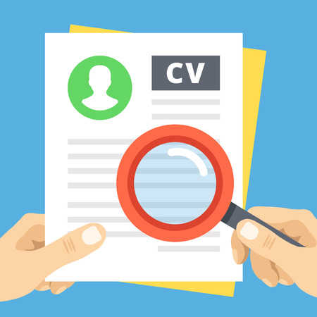 CV review flat illustration. Hand with magnifier over curriculum vitae Stock Illustratie