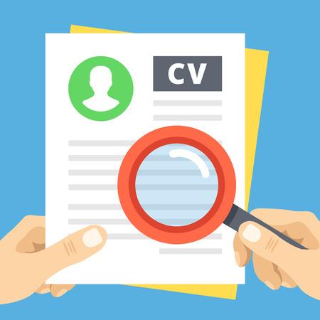 evaluacion: CV revisión plana ilustración. Mano con la lupa sobre el curriculum vitae
