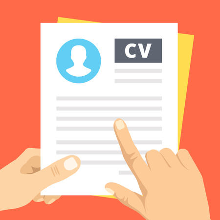 inspection: CV inspection. Finger pointing at text line in business resume