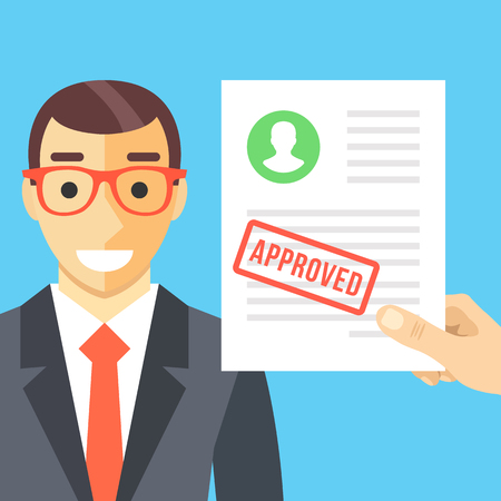 Happy man and approved application form flat illustration concept