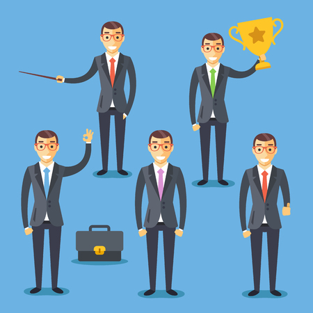 salesman: Business people set. Flat illustrations and flat design graphic for websites,  web and mobile apps, infographics, printed materials Illustration
