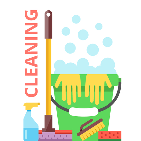 spring cleaning: Cleaning flat illustration. Spring cleaning and cleaning service concept Illustration