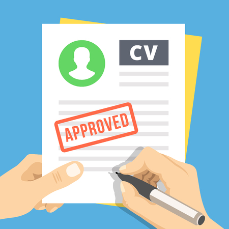 application icon: CV approved. Hand with pen sign a job application