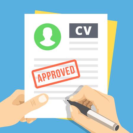 cv: CV aprobado. Mano con la pluma firmar una solicitud de empleo Vectores