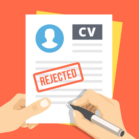 puesto de trabajo: rechazo CV. Mano con la pluma firmar una solicitud de empleo Vectores