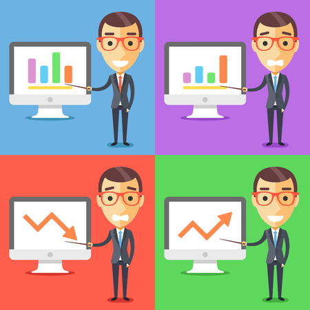 presentation screen: Business characters set. Businessman and presentation on computer screen