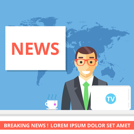 anchorman: News concept. Anchorman sitting at the desk Illustration