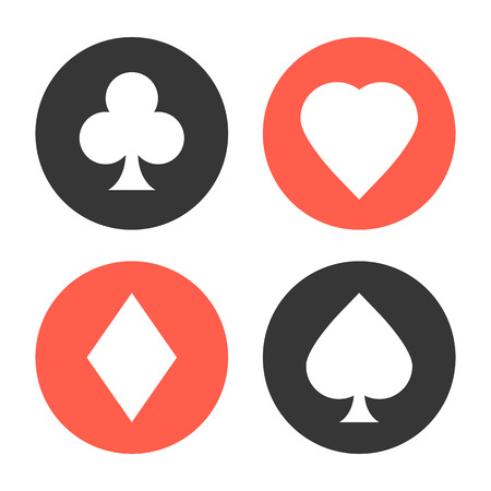 ace of spades: Playing cards suits symbols set
