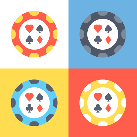 poker chip: Poker chip icons set. 4 poker chips vector icons