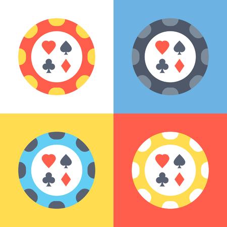 poker chip: Poker chip icons set. 4 poker chips vector icons
