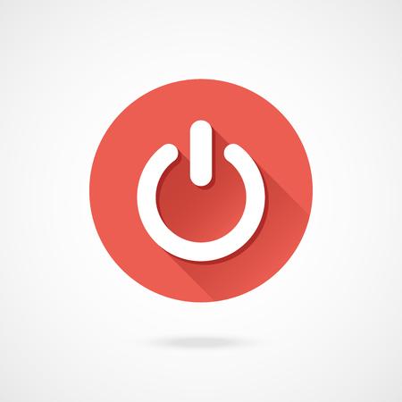 shut: Shut down icon. Vector round shutdown icon with long shadow