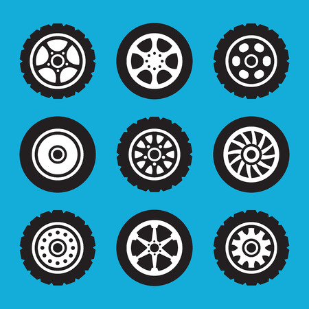 Tires and wheels icons set. Vector icons set