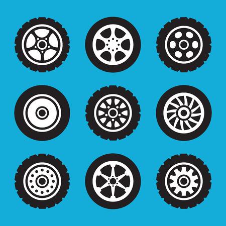 llantas: establecen neumáticos y ruedas iconos. iconos conjunto de vectores Vectores