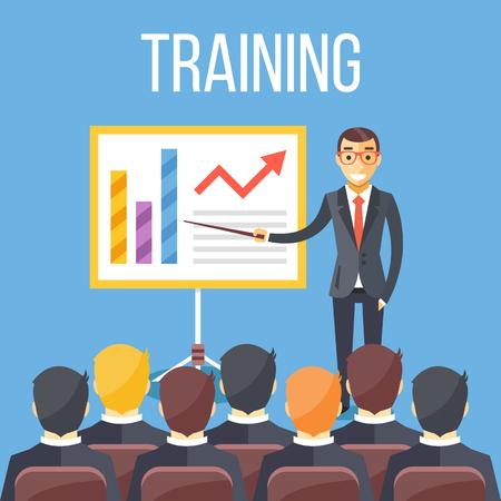 Training staff, business presentation, meeting, business school. Vector flat illustration Vettoriali