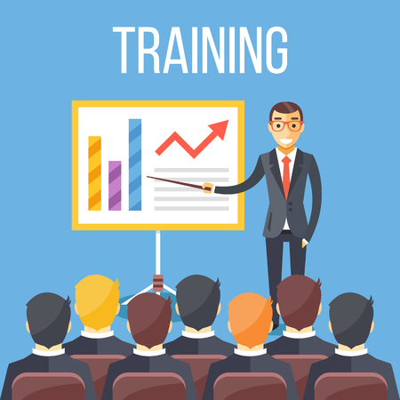 Training staff, business presentation, meeting, business school. Vector flat illustration Ilustracja