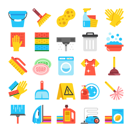 clean dishes: Household supplies icons set