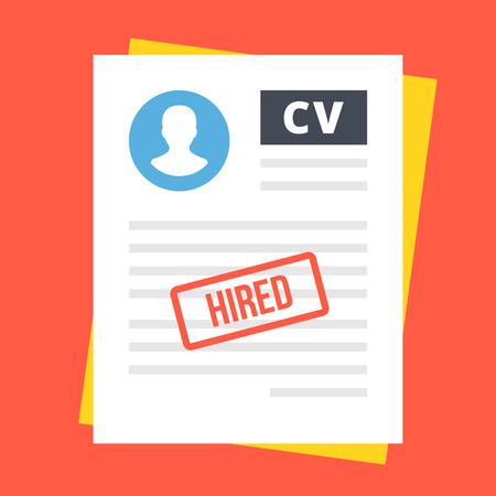 hired: Hired employee CV. Flat illustration Illustration