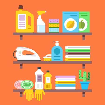 household goods: Household goods, household products on shelves. Flat illustration