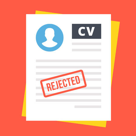 hoja de vida: CV rechazada. ilustración plana