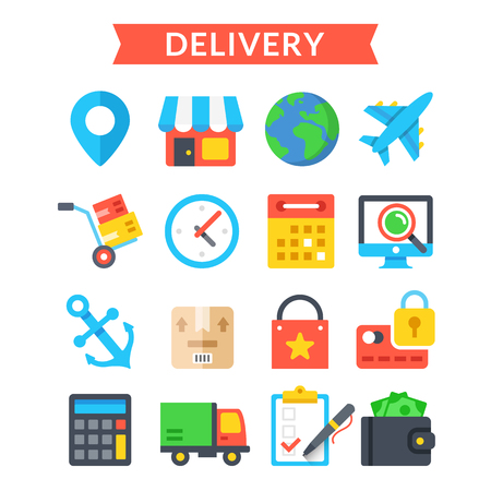 orders: Delivery icons set. Shipping, delivery, logistics, warehouse, goods tracking. Flat icons set