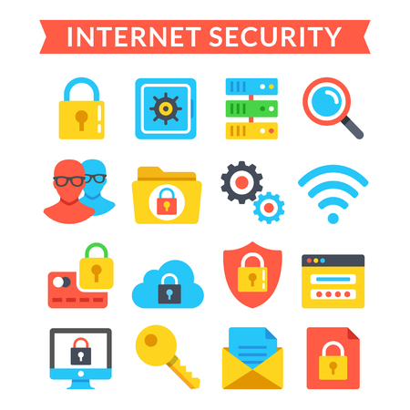 internet site: Internet security icons set. Online protection, system privacy, antivirus. Flat icons set