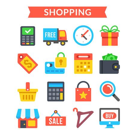 ecommerce icons: Shopping icons set. Shopping, online commerce, retail, ecommerce, internet marketing. Flat icons set