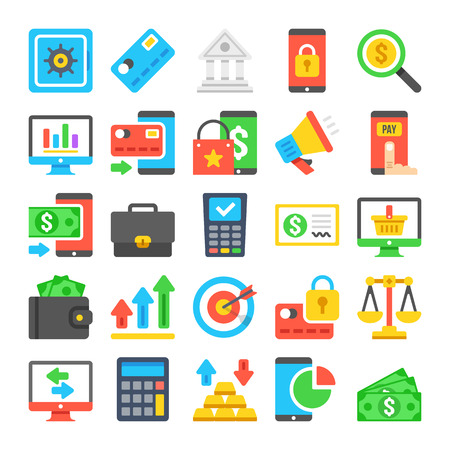 web icons: Business icons set. Modern flat icons, material design icons set