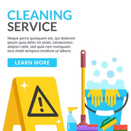 mojada: El servicio de limpieza plana ilustración. ilustración plana