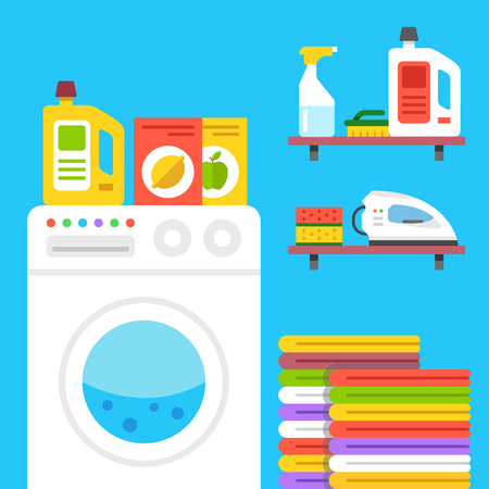 household goods: Laundry illustration. Laundry room with washing machine, household products, etc.