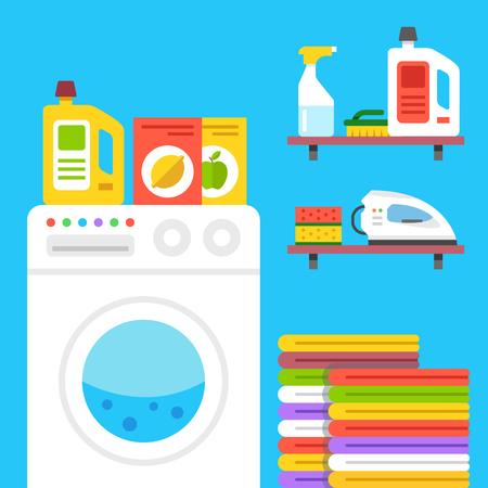 laundry room: Laundry illustration. Laundry room with washing machine, household products, etc.