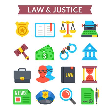 judicial: Law justice icons set. Judicial system, court system, law, justice. Flat icons set