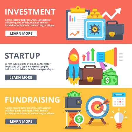 fundraising: Investment, startup, fundraising flat illustration set Illustration
