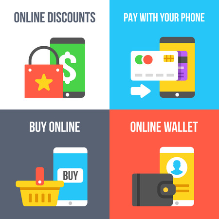 pay phone: Online discount, pay with your phone, buy online, online wallet flat illustration set Illustration