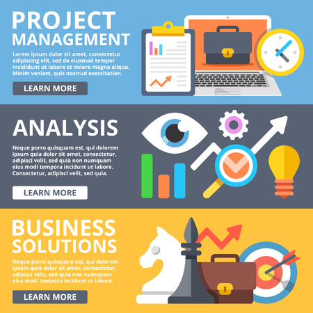 business analysis: Project management, analysis, business solutions flat illustration set Illustration
