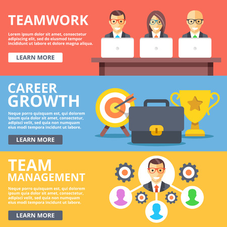 Teamwork, career growth, team management flat illustration set Illustration