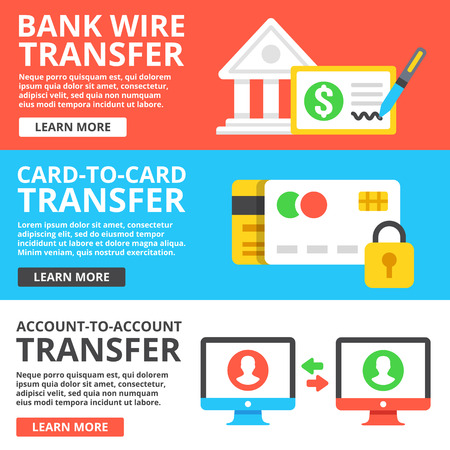 Bank wire transfer, card to card transfer, account to account transfer flat illustration