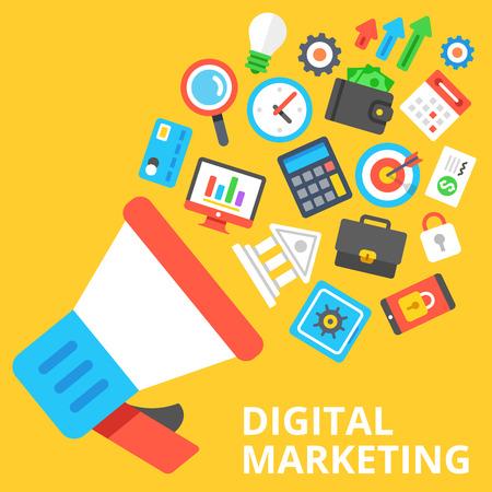 Digital Marketing płaskim ilustracji. Głośnik z wieloma marketingowych i biznesowych ikon