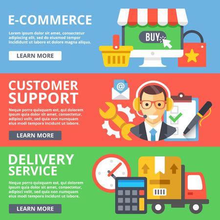 customer support: E-commerce, customer support, delivery service flat illustration set Illustration