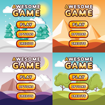 Main menu game interfaces kit. Winter forest, desert, mystery canyon, sunny hills backgrounds Illustration