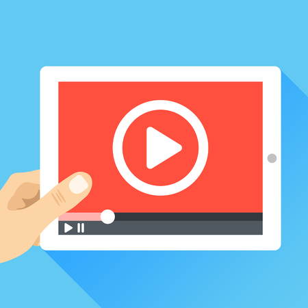 Hand holding tablet with video frame and play button. Video marketing, online cinema. Modern flat illustration Иллюстрация