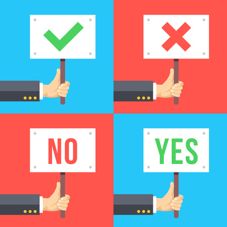yes no: Set of hands holding different signs. Flat vector illustration