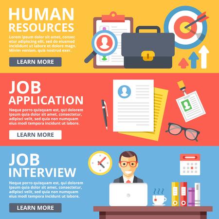 job application: Human resources, job application, job interview flat illustration set