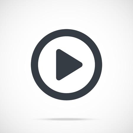 play: Vector icono del juego. botón de reproducción negro, icono plana redonda