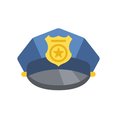 peaked: Police peaked cap. Vector police hat icon Illustration